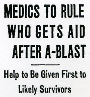 Medics To Rule Who Gets Aid After A-Blast, Chicago Tribune, August 2, 1950
